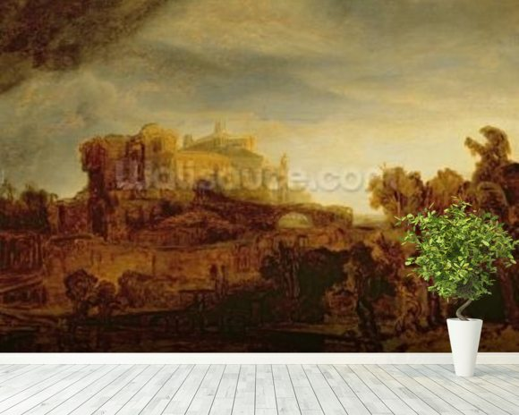 Landscape with a Chateau (oil on panel) wallpaper mural room setting