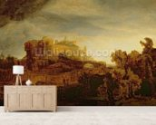 Landscape with a Chateau (oil on panel) wallpaper mural living room preview