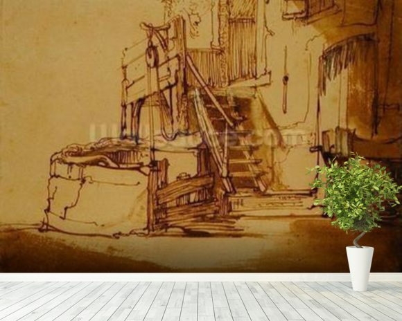 The well in front of the farmhouse (pen and brown ink and brown wash on paper) mural wallpaper room setting