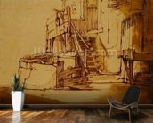 The well in front of the farmhouse (pen and brown ink and brown wash on paper) mural wallpaper kitchen preview