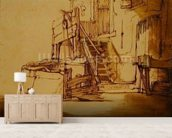 The well in front of the farmhouse (pen and brown ink and brown wash on paper) mural wallpaper living room preview