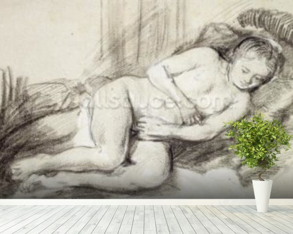 Reclining Female Nude (black chalk and bodycolour on paper) wall mural room setting