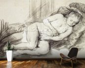 Reclining Female Nude (black chalk and bodycolour on paper) wall mural kitchen preview