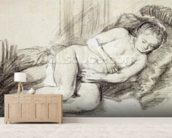 Reclining Female Nude (black chalk and bodycolour on paper) wall mural living room preview