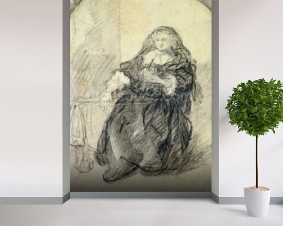 Seated Saskia with a letter in her left hand (black chalk with white bodycolour on paper) wallpaper mural room setting