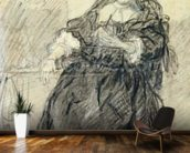 Seated Saskia with a letter in her left hand (black chalk with white bodycolour on paper) wallpaper mural kitchen preview