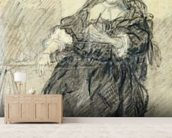 Seated Saskia with a letter in her left hand (black chalk with white bodycolour on paper) wallpaper mural living room preview