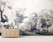 Landscape (pen and ink and wash on paper) mural wallpaper living room preview