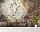 Annunciation to the Shepherds (pen and ink on paper) wall mural in-room view