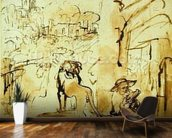 St. Jerome Reading in a Landscape, c.1653-54 (pen and brown ink and brush on paper) wallpaper mural kitchen preview