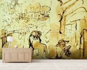 St. Jerome Reading in a Landscape, c.1653-54 (pen and brown ink and brush on paper) wallpaper mural living room preview