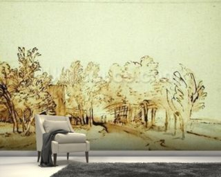 Avenue with a footpath and a farmhouse on the left Wall Mural Wallpaper Wall Murals Wallpaper