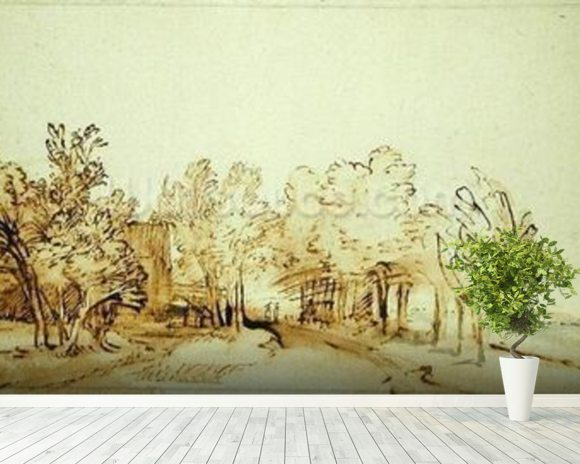 Avenue with a footpath and a farmhouse on the left (pen and brown ink and brush on paper) mural wallpaper room setting