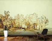 Avenue with a footpath and a farmhouse on the left (pen and brown ink and brush on paper) mural wallpaper kitchen preview