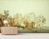 Avenue with a footpath and a farmhouse on the left (pen and brown ink and brush on paper) mural wallpaper living room preview
