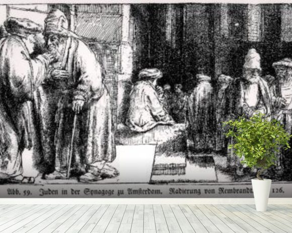 Jews in the Synagogue in Amsterdam, engraved by the artist (b/w photo) mural wallpaper room setting