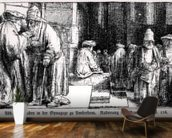 Jews in the Synagogue in Amsterdam, engraved by the artist (b/w photo) mural wallpaper kitchen preview