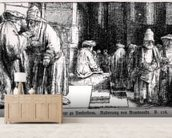 Jews in the Synagogue in Amsterdam, engraved by the artist (b/w photo) mural wallpaper living room preview
