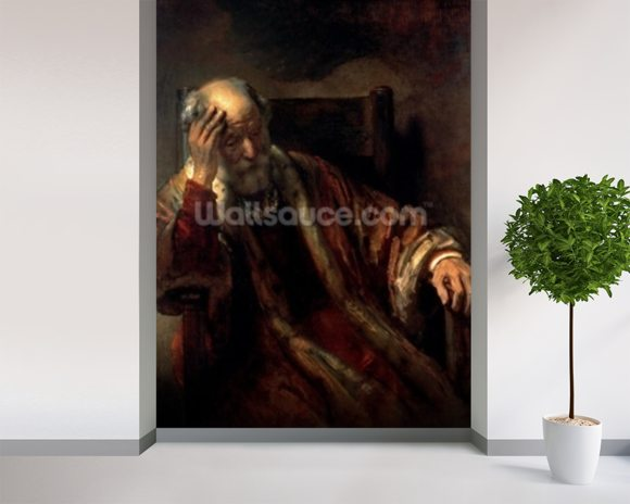 An Old Man in an Armchair (oil on canvas) wallpaper mural room setting