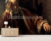 An Old Man in an Armchair (oil on canvas) wallpaper mural living room preview