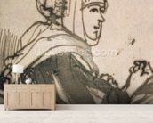 Portrait of Saskia, 1634 (ink and wash on paper) mural wallpaper living room preview