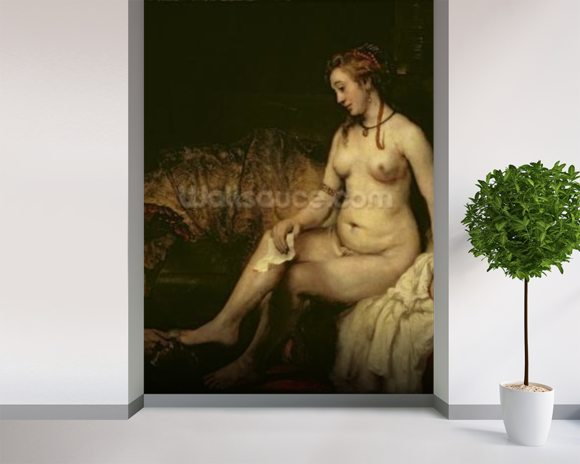 Bathsheba Bathing, 1654 (oil on canvas) (see 220594 for detail) wall mural room setting