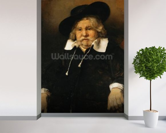 Portrait of an old man, 1667 (oil on canvas) wallpaper mural room setting