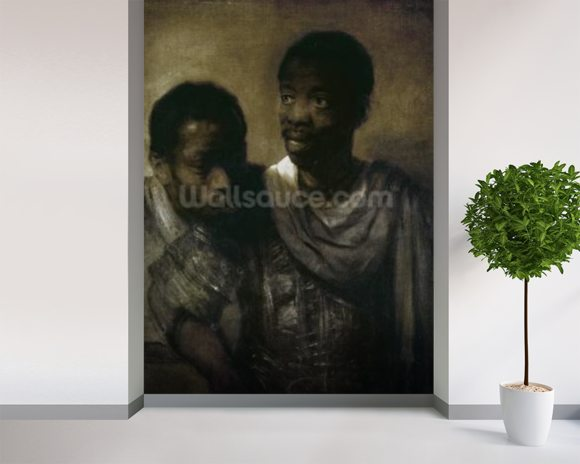Two Negroes, 1661 (oil on canvas) wallpaper mural room setting