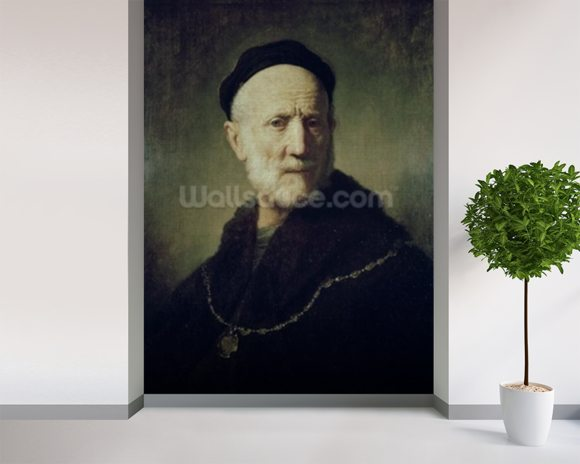 Portrait of Rembrandts Father wallpaper mural room setting