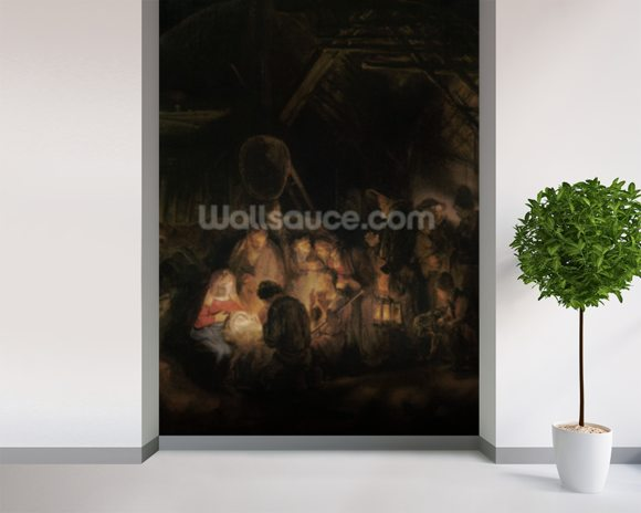 Adoration of the Shepherds, 1646 (oil on canvas) wall mural room setting