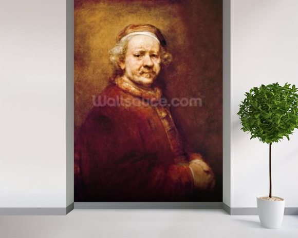 Self Portrait in at the Age of 63, 1669 (oil on canvas) mural wallpaper room setting