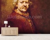 Self Portrait in at the Age of 63, 1669 (oil on canvas) mural wallpaper living room preview
