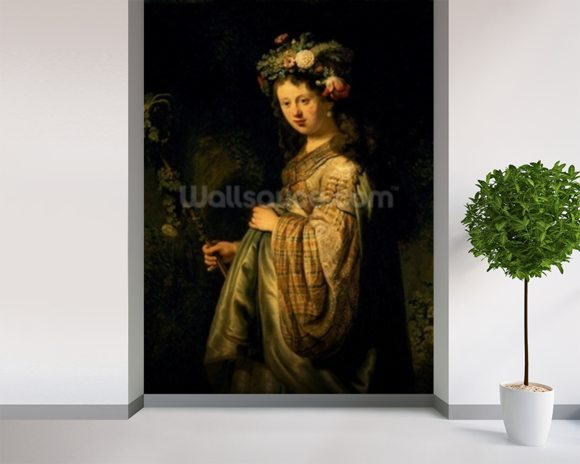 Saskia as Flora, 1634 (oil on canvas) wall mural room setting