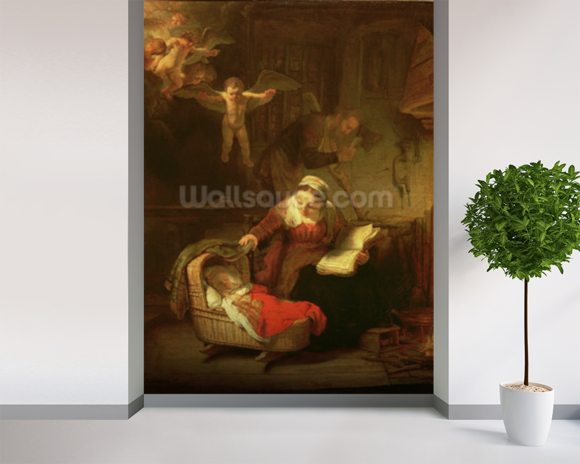 The Holy Family, c.1645 (oil on canvas) wallpaper mural room setting