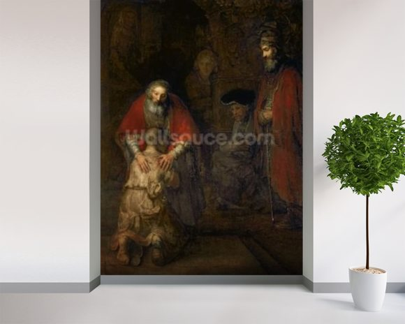 Return of the Prodigal Son, c.1668-69 (oil on canvas) mural wallpaper room setting