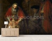 Return of the Prodigal Son, c.1668-69 (oil on canvas) mural wallpaper living room preview