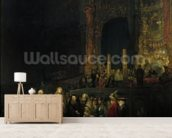 The Woman taken in Adultery, 1644 (oil on panel) wallpaper mural living room preview