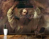 Moses Smashing the Tablets of the Law, 1659 (oil on canvas) mural wallpaper kitchen preview