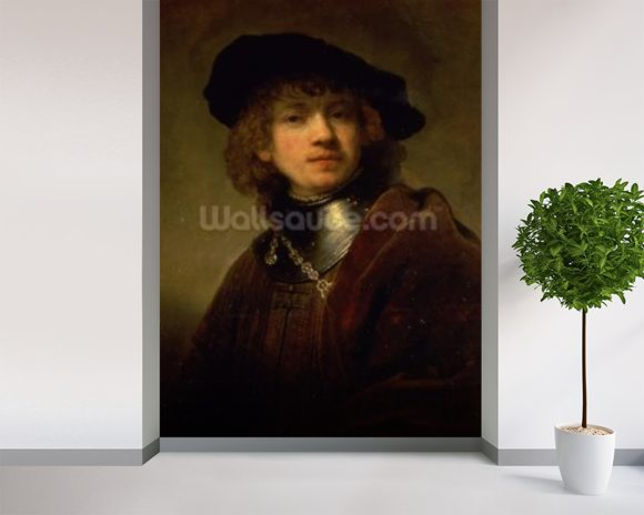 Tronie of a Young Man with Gorget and Beret, c.1639 (oil on panel) wall mural room setting