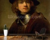 Tronie of a Young Man with Gorget and Beret, c.1639 (oil on panel) wall mural kitchen preview