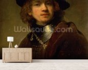 Tronie of a Young Man with Gorget and Beret, c.1639 (oil on panel) wall mural living room preview