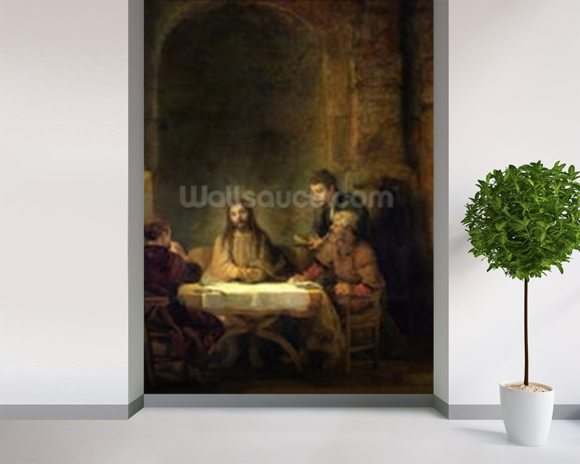 The Supper at Emmaus, 1648 (oil on panel) wallpaper mural room setting