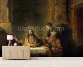 The Supper at Emmaus, 1648 (oil on panel) wallpaper mural living room preview