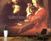 A Young Man and a Girl Playing Cards (oil on canvas) mural wallpaper kitchen preview