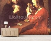 A Young Man and a Girl Playing Cards (oil on canvas) mural wallpaper living room preview