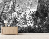 The Circumcision, 1654 (etching) (b/w photo) mural wallpaper living room preview