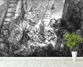 The Circumcision, 1654 (etching) (b/w photo) mural wallpaper in-room view
