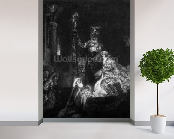 Presentation in the Temple, 1654 (mezzotint) (b/w photo) wall mural room setting