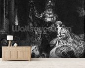 Presentation in the Temple, 1654 (mezzotint) (b/w photo) wall mural living room preview