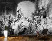 The Triumph of Mordecai, c.1640 (etching) (b/w photo) mural wallpaper kitchen preview